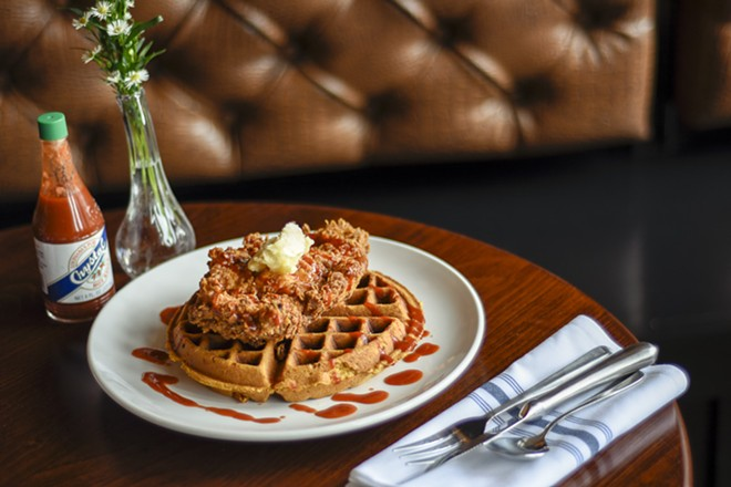 The fried chicken and cornbread waffle. - KELLY GLUECK