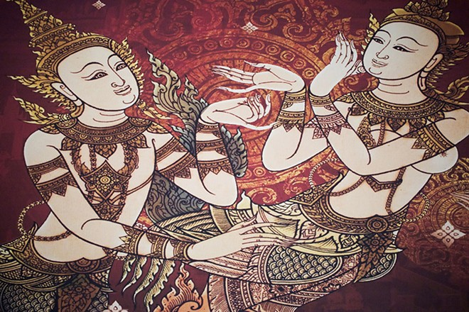 Traditional Thai tapestries decorate the room. - CHERYL BAEHR