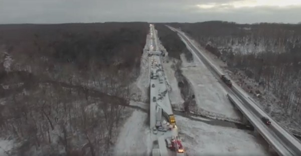 A drone-captured view of multiple vehicle crashes on I-44 near Marshfield. - SCREENSHOT VIA FACEBOOK