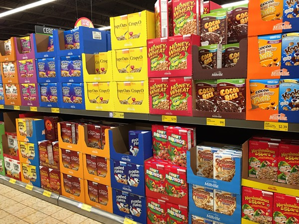 One whole aisle of candy-colored cereal boxes - PHOTO BY JAIME LEES