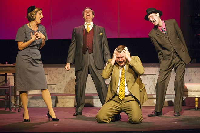 Frank Taggart (Stephen Peirick, kneeling) discovers the communists (from left, Ariel Roukaerts, Gerry Love, Chris Ceradsky) aren't so great after all. - JOHN LAMB