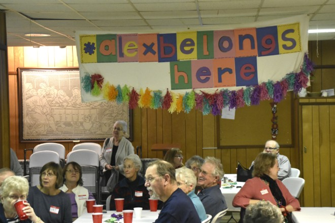 About 60 people attended a fundraiser for Alex Garcia on Tuesday at Christ Church in Maplewood. - DOYLE MURPHY