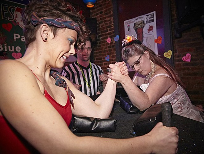 The St. Louis Lady Arm Wrestlers are here to brawl. - STEVE TRUESDELL