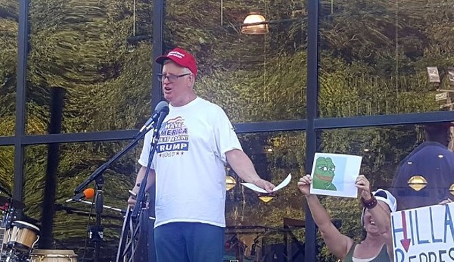 """Jim Hoft, appearing at an August 2016 """"Tea Party For Trump"""" rally, said Donald Trump's proposed immigration policies sent a """"thrill up his leg."""" It was weird.  - DANNY WICENTOWSKI"""