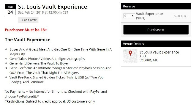 Details for the Vault Experience