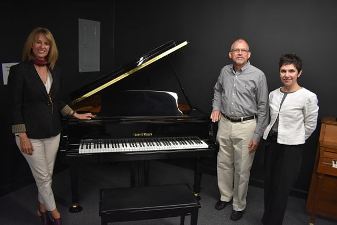 L to R: Pianos for People Executive Director Sheena Stone, piano donor Terry Hammer and 20th Ward Alderwoman Cara Spencer - DANIEL HILL
