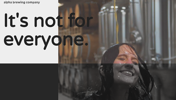 Alpha's website originally showed a woman being showered with beer. - SCREENGRAB