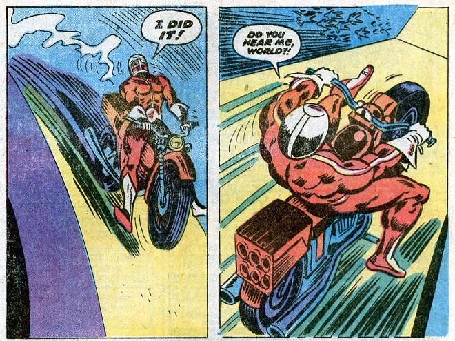 Remember, kids: always wear a helmet and a skin-tight red jumpsuit when daredevil-ing. - IMAGE VIA APOTHEOSIS COMICS
