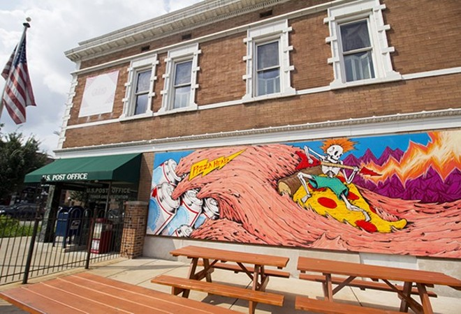 The eye-popping mural covering the side of Pizza Head. - MABEL SUEN