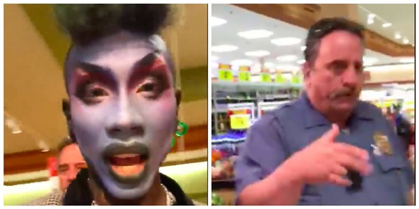 Maxi Glamour, left, captured one of the security guards who booted him (right) in a video. - SCREENGRAB