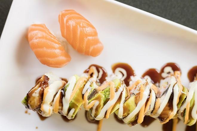 "The ""Maplewood"" is topped with eel, avocado, masago, wasabi honey mayo and eel sauce. - MABEL SUEN"