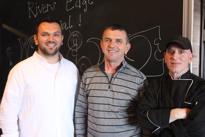 Aurel Bardho, left, with his father Fatmir and chef Phillip Paris. - SARAH FENSKE