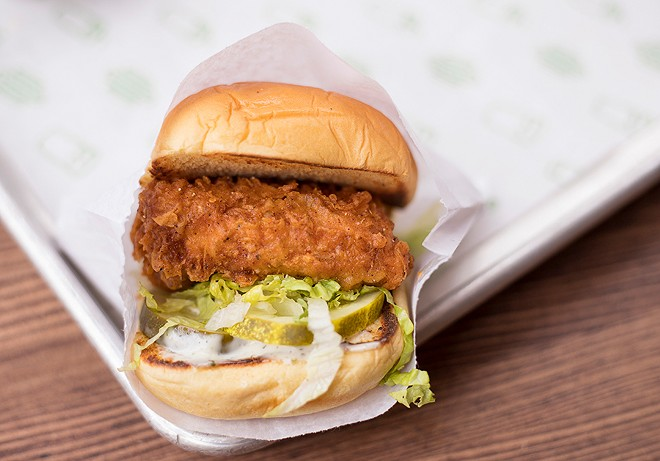 """The """"Chick'n Shack"""" features crispy chicken breast, lettuce, pickles and buttermilk herb mayo. - MABEL SUEN"""
