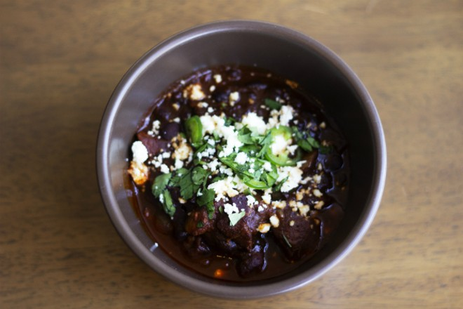Slow roasted pork chili with mole sauce - HAYLEY ABSHEAR