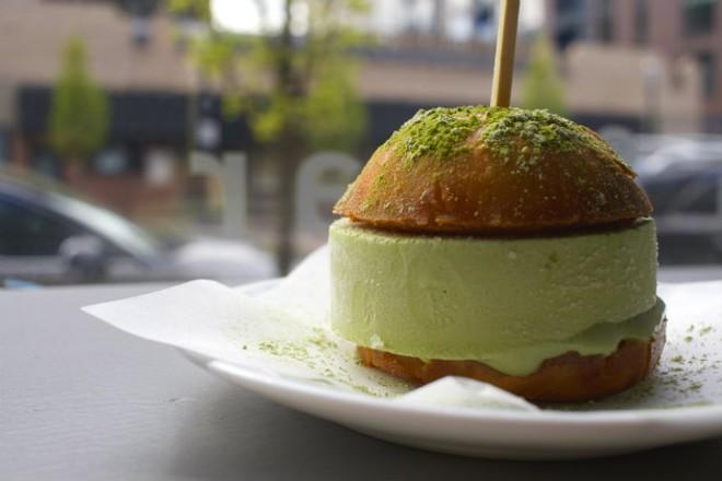 A green tea ice cream sandwich. - CHERYL BAEHR