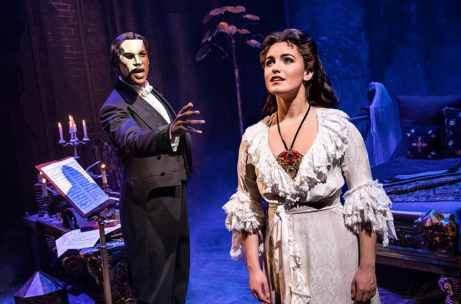 He's stalking her and killing the people close to her — the Phantom is a bad boyfriend in The Phantom of the Opera. - MATTHEW MURPHY