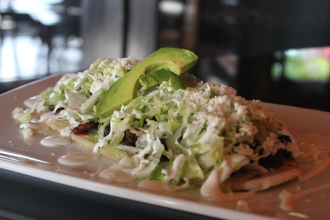 Mas Tequila Cantina's huarache, which the kitchen plans to offer as an occasional special. - SARAH FENSKE