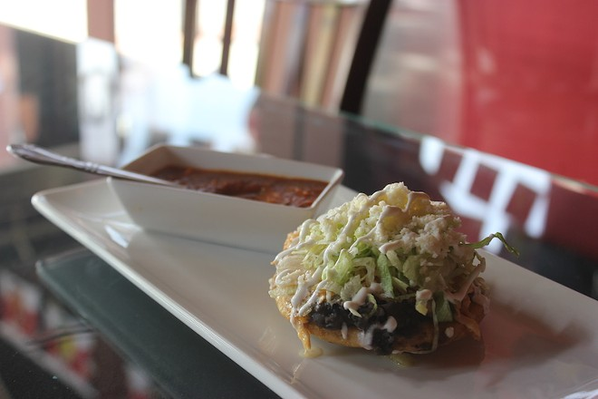 Sopes can be ordered as a snack for $3.95 each or as part of a dinner special, three for $10.95. - SARAH FENSKE