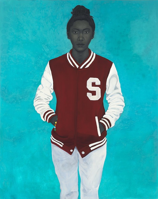 Amy Sherald, Varsity Girl, 2016. Oil on canvas, 54 x 43 inches. Collection of Nancy and David Frej. Courtesy the artist and Monique Meloche Gallery, Chicago.