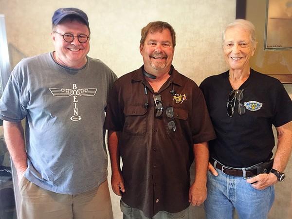 Pilot Bob Hill, mechanic / coordinator Jon Eads and co-pilot Stuart Goldstein. - PHOTO BY JAIME LEES