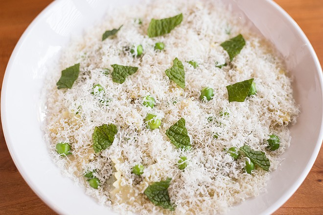 Agnolotti pasta includes spinach, ricotta, spring peas and mint. - MABEL SUEN
