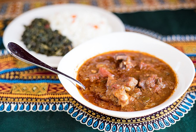 With a blend of ginger, garlic, herbs and spices cooked with tomatoes, onions and potatoes, goat curry is delectable. - MABEL SUEN
