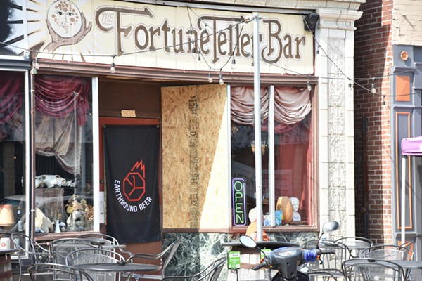 The Fortune Teller Bar's windows were boarded up on Wednesday. - DOYLE MURPHY