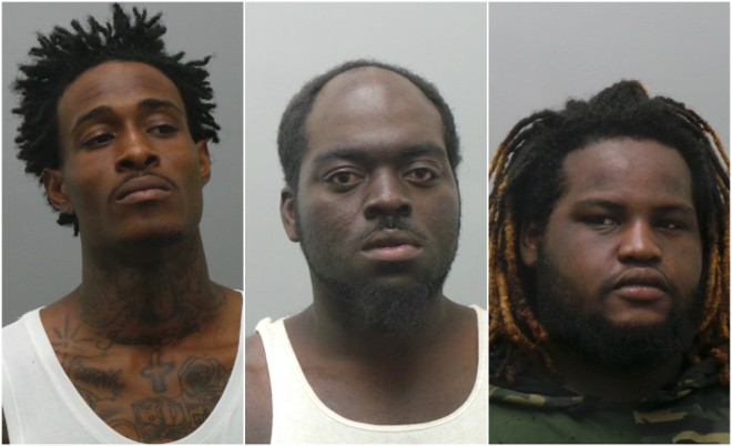 From Left: Jody Dale, Eddie Price and Jahma Swaningan were accused of assault. - COURTESY ST. LOUIS COUNTY POLICE
