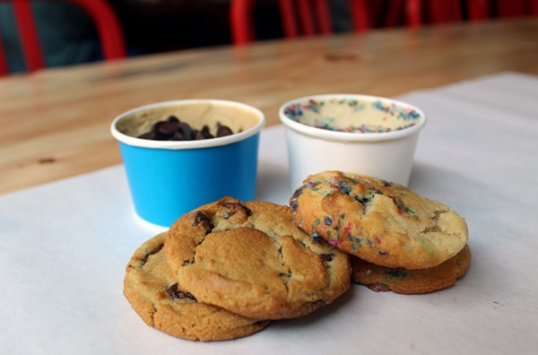 The cookies are baked fresh so they are crunchy on the outside and gooey in the middle. - LEXIE MILLER