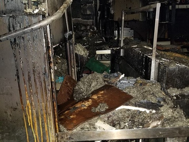 The fire-damaged kitchen inside Billie's Fine Foods. - COURTESY OF LAUREN ZYCH