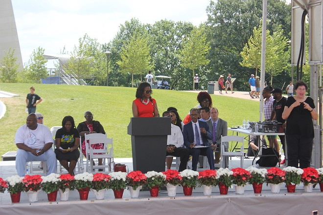 Treasurer Tishaura Jones speaks at the do-over ribbon-cutting. - ALISON GOLD