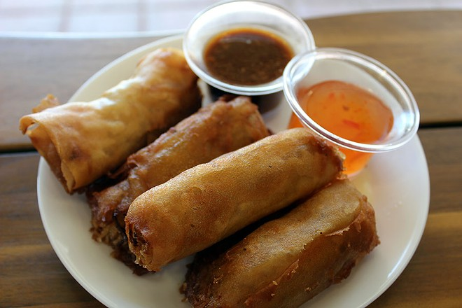 The vegetable egg rolls are filled with carrots, cabbage and noodles. - LEXIE MILLER