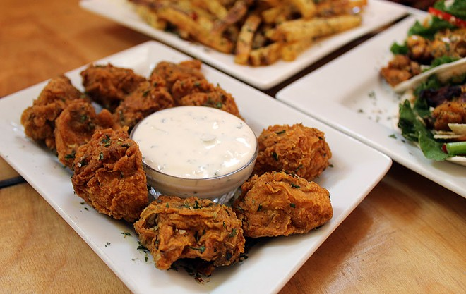 "The ""Shrooms"" are a great appetizer of mushroom poppers with homemade ranch dressing. It costs $5. - LEXIE MILLER"