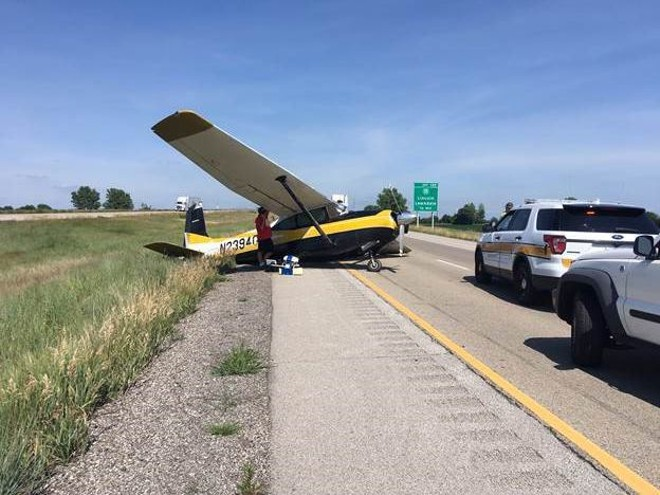 A plane crashed into an O'Fallon family's car on Wednesday on Interstate 55. - COURTESY ILLINOIS DEPARTMENT OF TRANSPORTATION
