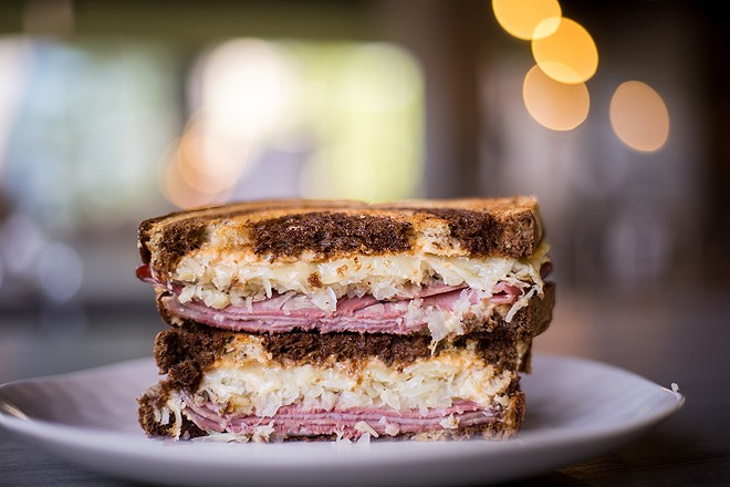 The classic reuben is griddled, giving the bread a buttery golden interior. - MABEL SUEN