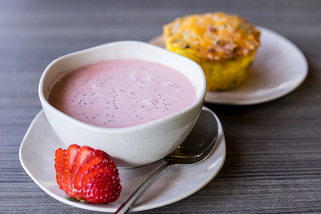 Offerings also include a chilled strawberry soup and veggie frittata. - MABEL SUEN