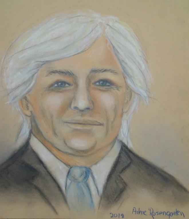 Michael Litz, as captured by a courtroom artist. - COURTROOM SKETCH BY ARLENE ROSENGARTEN