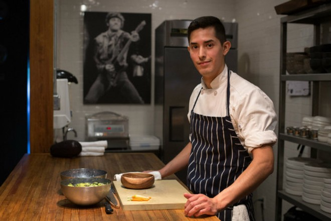 Andrew Enrique Cisneros went from the soccer field to the kitchen at Privado. - MONICA MILEUR