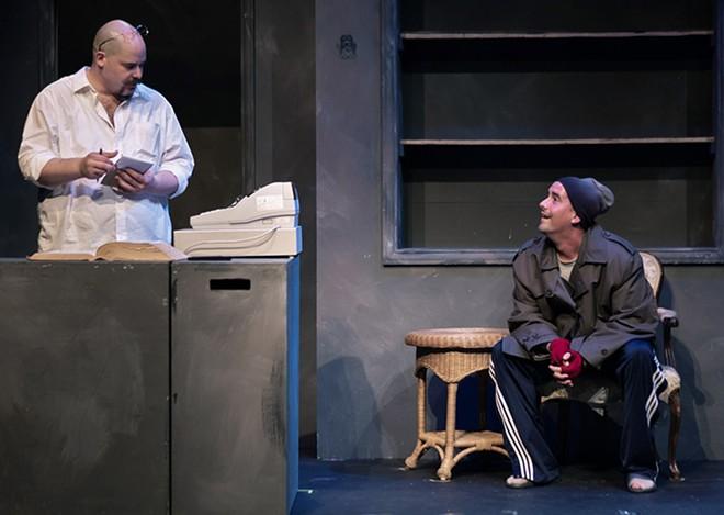 """Mr. Barker (Zachary Allen Farmer) sells words to his best customer (Spencer Sickmann) in """"Unabridged."""" - JUSTIN FOIZEY"""