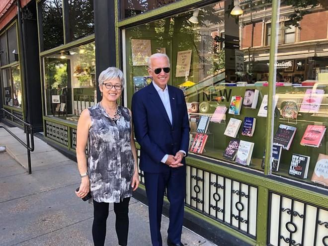 Kris Kleindienst shared this photo of Biden's visit on her Facebook page. - COURTESY OF KRIS KLEINDIENST