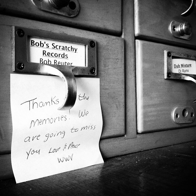 A note affixed to Reuter's mailbox at KDHX following his death. - JAIME LEES