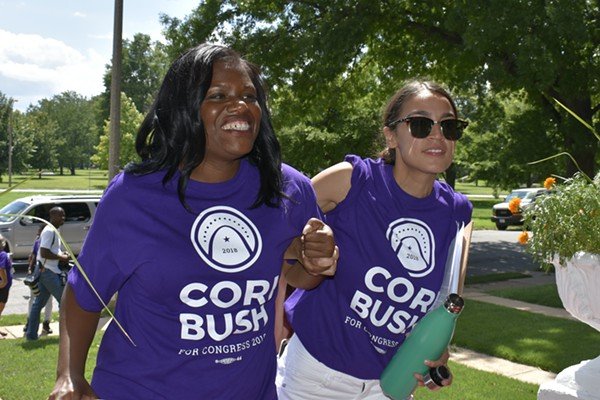 Cori Bush and Alexandria Ocasio-Cortez going door-to-door. - PHOTO BY JAIME LEES