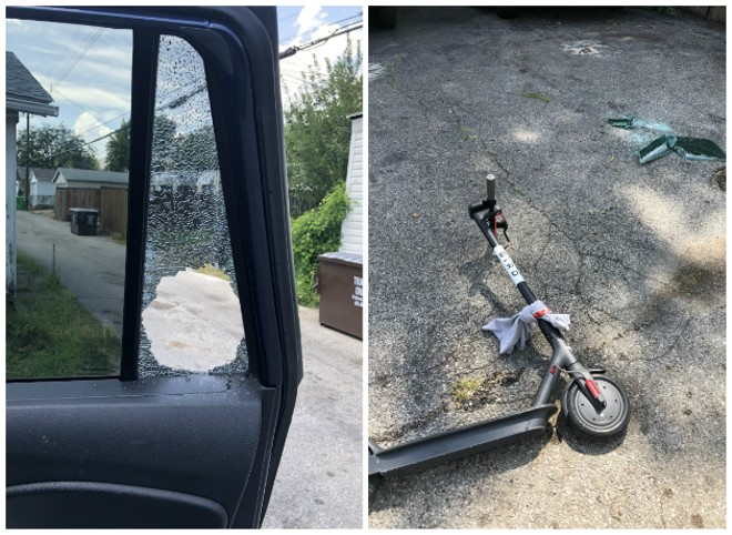 Tyler Garcia's window was broken before the thief came back for the whole SUV, leaving a Bird scooter behind. - COURTESY TYLER GARCIA