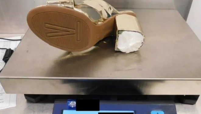 The heel of Denise Woodrum's shoe was stuffed with cocaine. - AUSTRALIAN BORDER FORCE