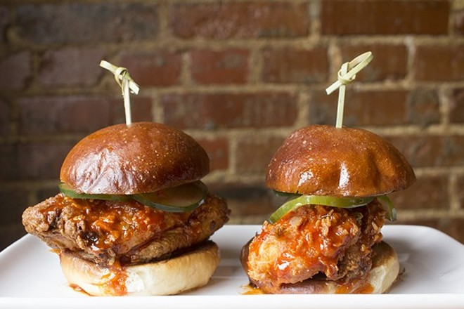Korean fried chicken sliders at the late, great Vista Ramen. - MABEL SUEN