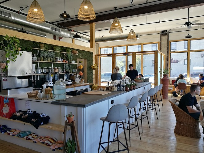 Unlike lesser smoothie bars, Hello offers plentiful seating. - IAIN SHAW