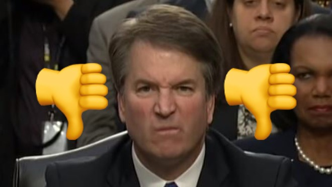 Two thumbs down for Brett Kavanaugh. - PHOTO ILLUSTRATION VIA NEW YORK TIMES YOUTUBE