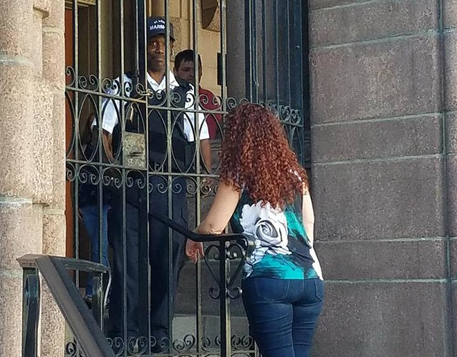Alderwoman Annie Rice, part of the STL Not for Sale group, was barred from City Hall. - COURTESY OF NICK DUNNE