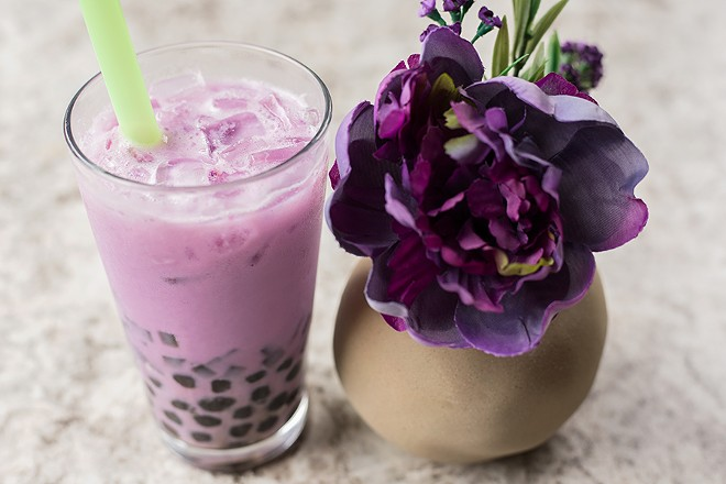 Taro bubble tea with tapioca pearls and green herb jelly. - MABEL SUEN