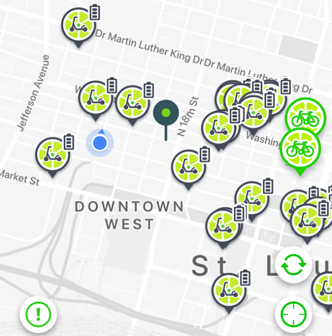 A screenshot from the Lime app on Wednesday afternoon shows more than ten times more scooters than bikes in the area near RFT's offices.